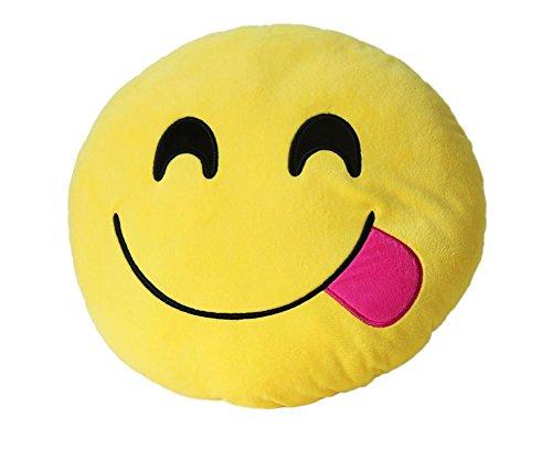 Dolphineshow 35cm Emoji Smiley Emoticon Yellow Round Cushion Pillow Stuffed Plush Soft Toy Naughty