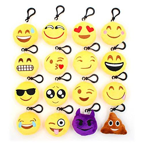 Emoji Mini Plush Pillows - Dreavil 16 Pack Soft Mini Smile Keychain Decorations - Kids Party Supplies Favors Novelty Graduate Prizes - 24 Inch