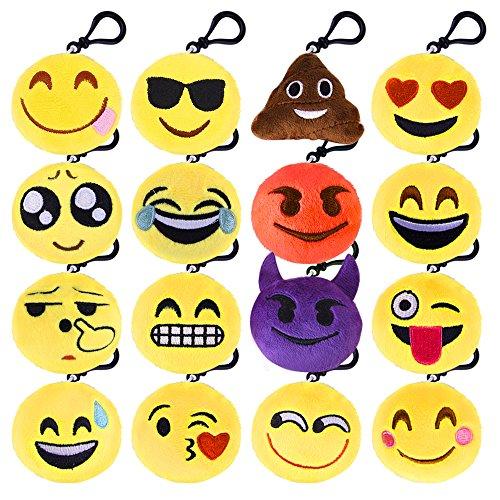 Kuuqa Emoji Plush Pillows Keychain Emoji Decoration Emoji Party Supplies 16 Pack