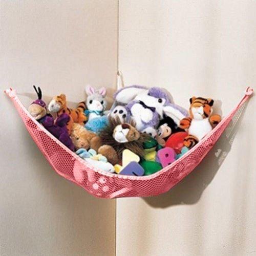 Dozenegg Stuffed Animal Toy Organizer Hammock Pet Net Pink Net and Trim