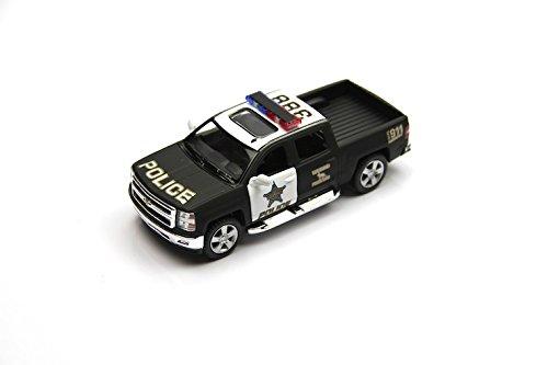 2014 Chevrolet Silverado Police diecast car model of Kinsmart scale 138 opening side doors