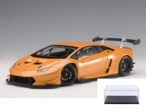 AUTOart Diecast Car Display Case Package - 2015 Lamborghini Huracan Super Trofeo Orange 81558 - 118 Scale Diecast Model Toy Car wDisplay Case