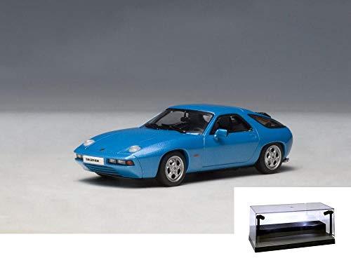 AUTOart Diecast Car wLED Display Case - Porsche 928 Blue 57811 - 143 Scale Diecast Model Toy Car