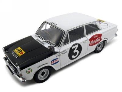 Ford Cortina MK1 Rally 1964 3 HugesYoung Diecast Car Model 118 Rally Safari Autoart