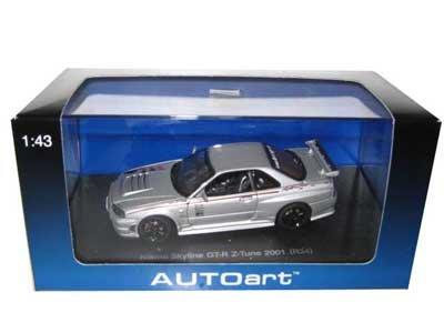 Nissan Skyline GT-R Z Tune R34 2001 Silver 143 Autoart Diecast Car Model