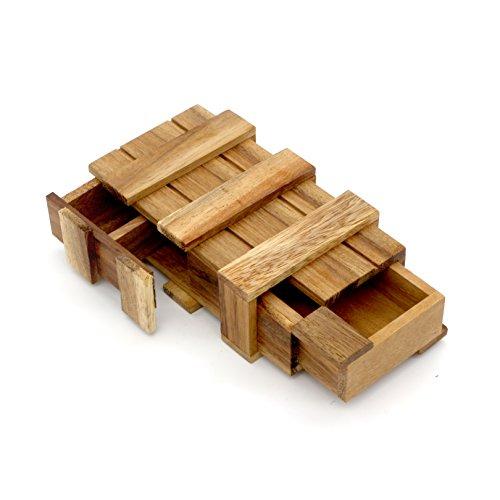 BSIRI The Magic Box Puzzle Brain Teaser Box Monkey Pod Wooden Secret Trick Intelligence Compartment Magic Money Gift Box Wooden Trick Puzzle Games Magic Wooden Box with Extra Secure Secret Drawer
