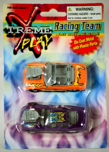 Greenbrier Intl Inc - Xtreme Play Racing Team - 2 Car Set - Die Cast Metal w Plastic Parts - Free Wheeling Action - New - OOP - Collectible