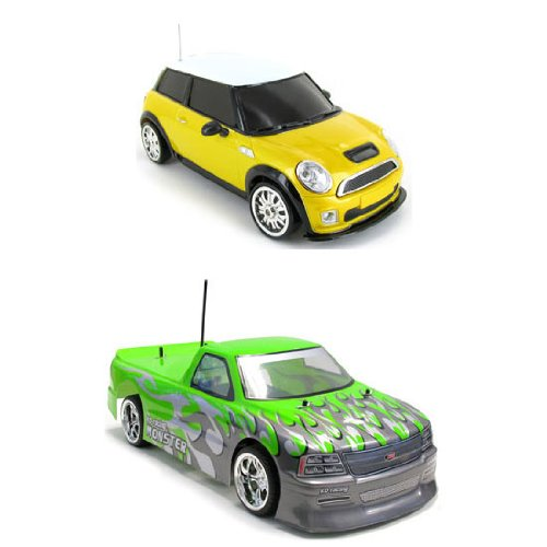 118 Mini Cooper and 110 Chevy Silverado Electric RTR RC Truck 2 Pack Bundle