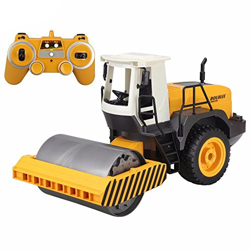 RC Truck 24G Remote Control Road Roller Drum Vibrate 2 Rubber Wheel Drive Engineer Electronic Truck Model Toy
