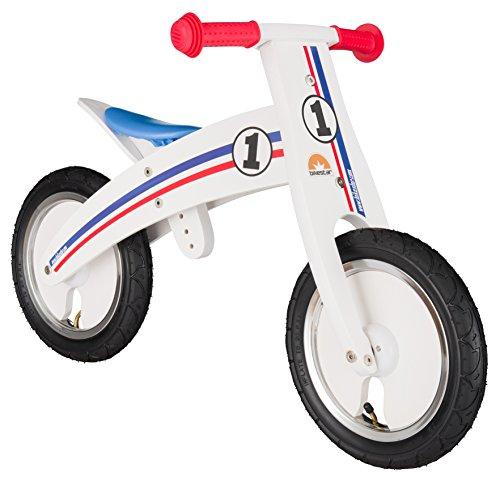 Bikestar 12 Inch 305cm Kids Balance Bike  Kids Running Bike - Wooden - White