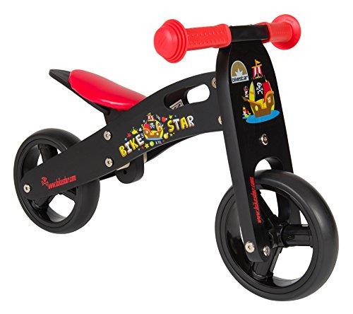 Bikestar 7 Inch 180 Cm Kids Balance Bike  Running Bike - Wooden - Black