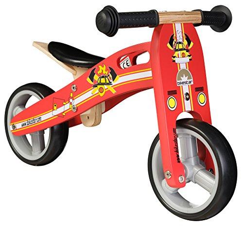 Bikestar 7 inch 180cm Kids Balance Bike  Kids Running Bike - wooden - Red Fireman Design