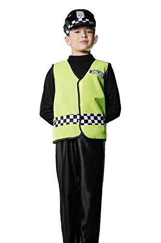 Kids Boys British Policeman Halloween Costume Cop Bobby Dress Up Role Play 3-6 years green black white