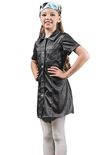 Kids Girls Factory Girl Halloween Costume Biker Schoolgirl Dress Up Role Play 3-6 years grey