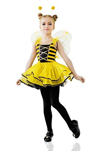 Kids Girls Honey Queen Bee Halloween Costume Bumblebee Wasp Dress Up Role Play 3-6 years yellow black
