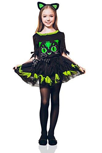 Kids Girls Kitty Cat Halloween Costume Miss Meow Catgirl Dress Up Role Play 3-6 years green black