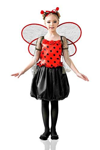 Kids Girls Ladybug Princess Halloween Costume Love Bug Fairy Dress Up Role Play 3-6 years black red