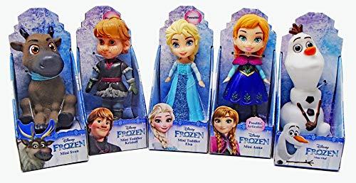 LLT Disney Princess 3 Poseable Frozen Collection Mini Toddler Dolls - Elsa Anna Kristoff Sven and Olaf - Set of 5