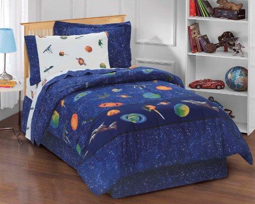 Dream Factory Outer Space Satellites Boys Comforter Set Blue Full