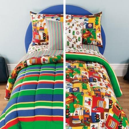 Kidz Mix Kids 3-Alarm Reversible Bed in a Bag TWIN Set Red Blue Yellow Green Stripes Toddler Boys Comforter Set