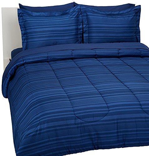 Teen Boy Comforter Set Blue Stripe Bed-In-A-Bag FullQueen