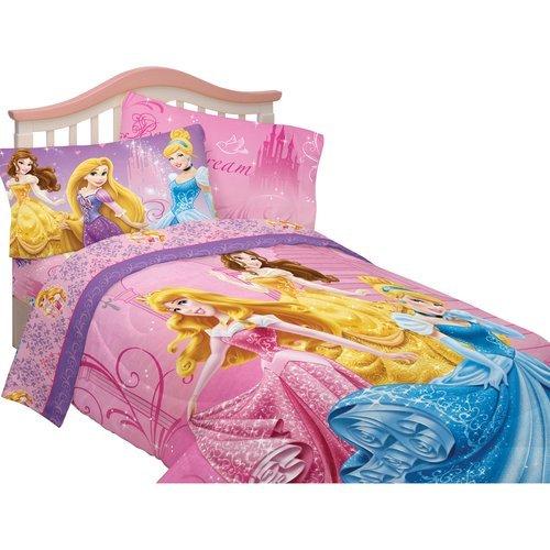 Disney Princess Sparkling Elegance Full Comforter Sheet Set Bedding Collection Cinderella Tiana Rapunzel Tangled