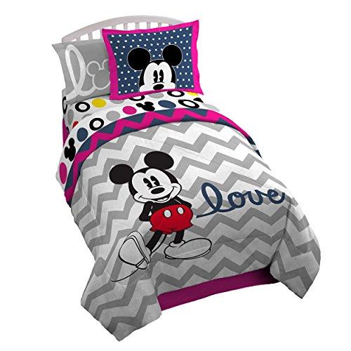 Disney Mickey Chevron  72 x 86 Reversible Twin Full Reversible Comforter Set PinkGray