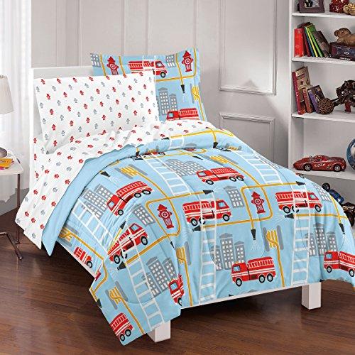Dream Factory Fire Truck Ultra Soft Microfiber Comforter Set Twin Blue