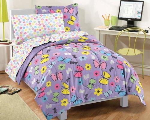 Dream Factory Sweet Butterfly Ultra Soft Microfiber Girls Comforter Set Purple Twin