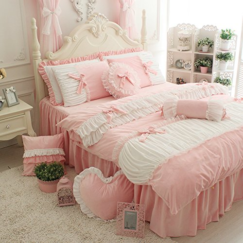 FADFAY Cute Girls Short Plush Bedding Set Romantic White Ruffle Duvet Cover Sets 4-PiecePink Full