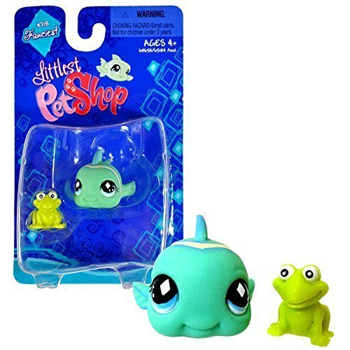 Hasbro Year 2008 Littlest Pet Shop Single Pack Fanciest Series Bobble Head Pet Figure Set  718 - Green CLOWN GOBY Fish with Mini Frog by Littlest Pet Shop parallel import goods