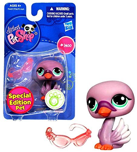 Littlest Pet Shop Single Pack Special Edition Bobble Head Pet Figure - 1400 Purple Swan with Glasses