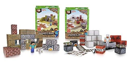 Minecraft Papercraft Shelter Set and Minecart Set - 48 Piece each set