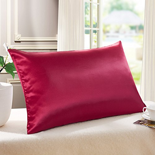 Tim Tina 22 Momme 100 Pure Mulberry Luxury Silk Pillowcase Good for Skin and Hair Facial Beauty ToddlerTravel Wine