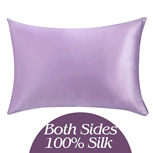 YANIBEST 19 Momme 100 Pure Natural Mulberry Silk Pillowcase for Hair Facial Beauty Toddler Size for Baby Pillow Shams Cover with Hidden Zipper Toddler Lavender