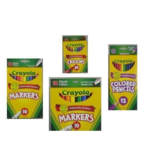 Crayola Crayons 24 Count Crayola Colored Pencils in Assorted Colors 12 Count Crayola 10ct Classic Fine Line Markers and Crayola 10ct Classic Broad Line Markers Holiday  Bundle