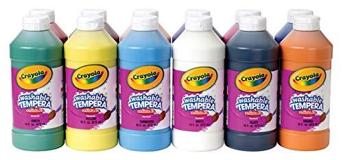 Crayola Artista II Washable Liquid Tempera Paint Set of 12 16oz  Assorted Colors 54-8216