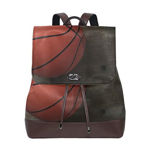 PU Leather School Backpack Sport Basketball Game drawstring for Travel Rucksack Daypack Casual Duffel Shoulder Bag
