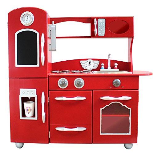 Wooden Play Kitchen Set Kids Play Kitchen Set Red