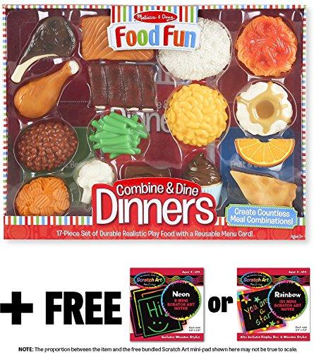 Combine Dine Dinners Food Fun Toy Play Set  FREE Melissa Doug Scratch Art Mini-Pad Bundle 82679