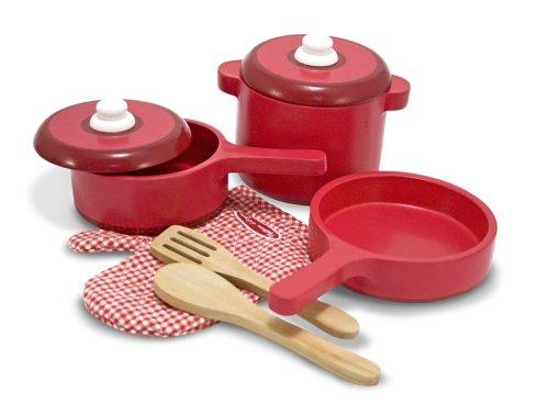 Melissa Doug Deluxe Wooden Kitchen Accessory Set - Pots Pans 8 pcs