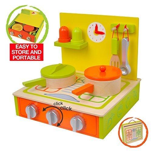 Wooden Kitchen Set - portable 10-piece set includes utensils pans with lids clock and condiments set