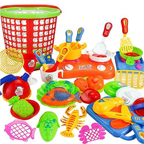 35pcs Cooking Toy Buedvo Plastic Kids Children Kitchen Utensils Food Pretend Play Set