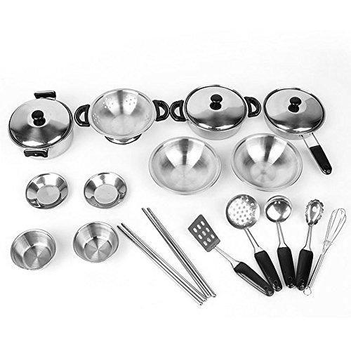 Vivian Pretend Play Toys Stainless Steel Kitchen Cookware Utensils Playset 20PCS