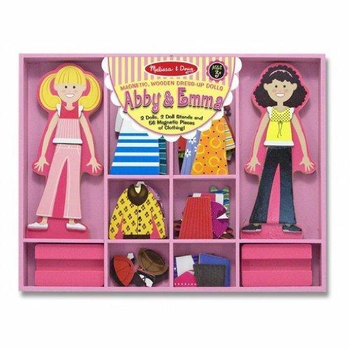 Abby Emma - Magnetic Dress Up Wooden Doll Stand  FREE Melissa Doug Scratch Art Mini-Pad Bundle 49405