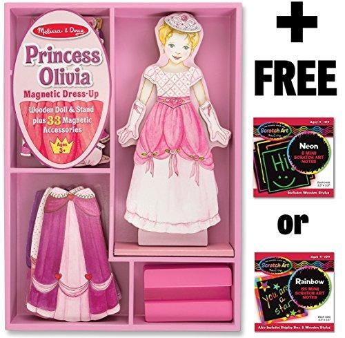 Princess Olivia - Magnetic Dress Up Wooden Doll Stand  FREE Melissa Doug Scratch Art Mini-Pad Bundle