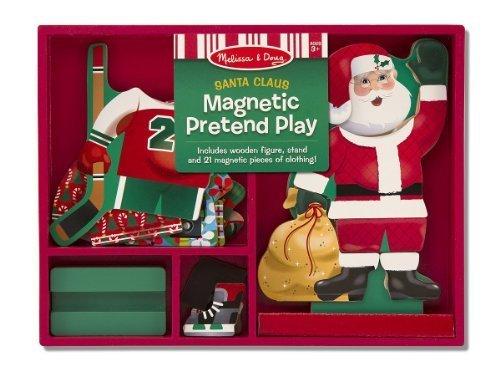 Santa Claus Pretend Play - Magnetic Dress Up Wooden Doll Stand  FREE Melissa Doug Scratch Art Mini-Pad Bundle 35514