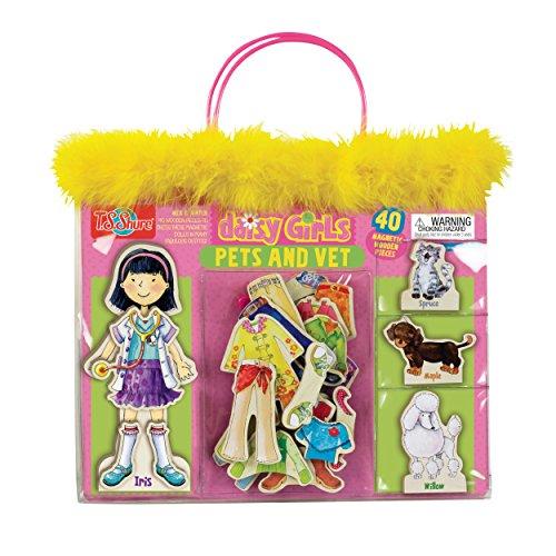 TS Shure Daisy Girls Pets Vet Wooden Magnetic Dress-Up Dolls