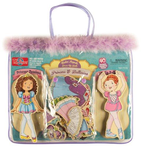 TS Shure Daisy Girls Princess Ballerina Wooden Magnetic Dress-Up Dolls