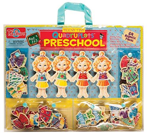 TS Shure Teeny Tiny Quadruplets Preschool Wooden Magnetic Dress-Up Dolls